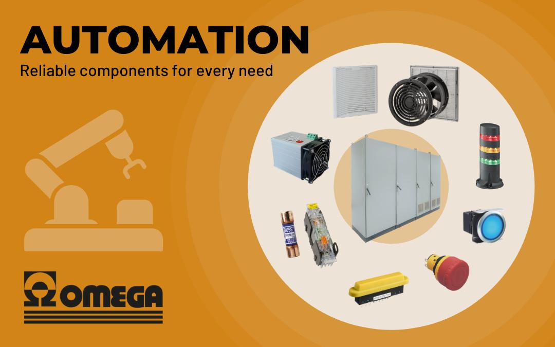 Componenti per automazione di Omega: gruppi filtro, scaldiglie, e-stop, azionatori fusibili e segnalazioni luminose